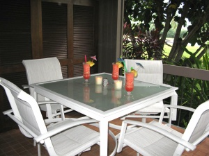 Enjoy meals outside on the lanai